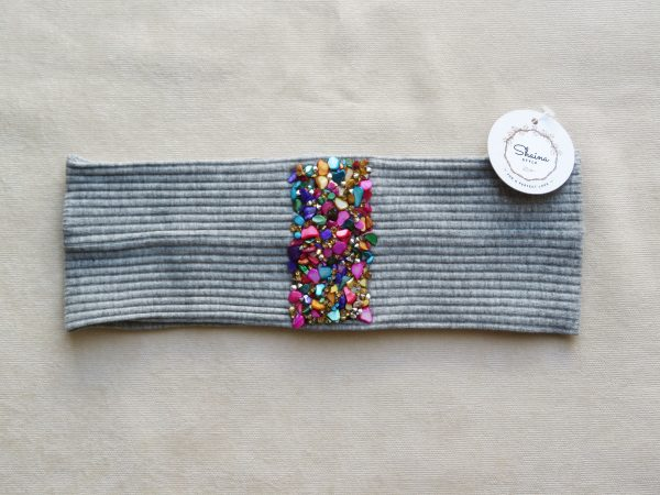 Colorful stones stripe headband by Shaina style's hair accessories